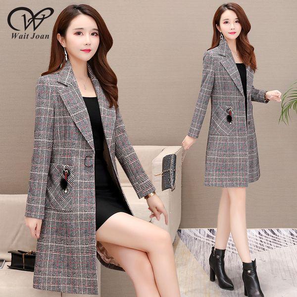 Spring Autumn Trench Coat Women Clothes 2019 Streetwear Female Long Coats Korean Elegant Plaid Trenchcoat Fashion Raincoat