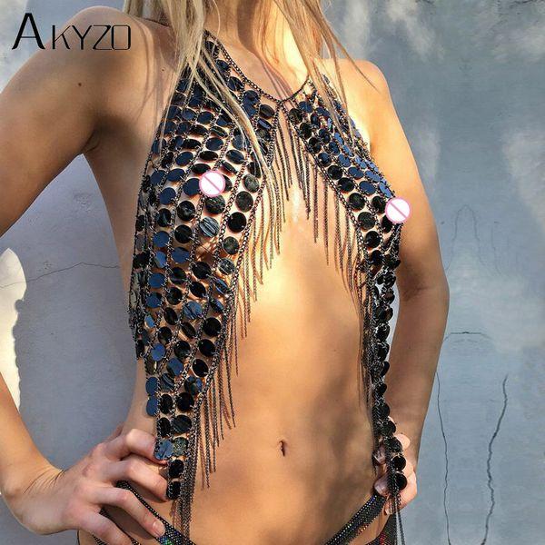 Akyzo Bling Festival Plastic Sequins Crop Tops Women Sexy Metal Chain Tassel Nightclub Dance Wear Party Burning Outfits Tank Top Y19042801
