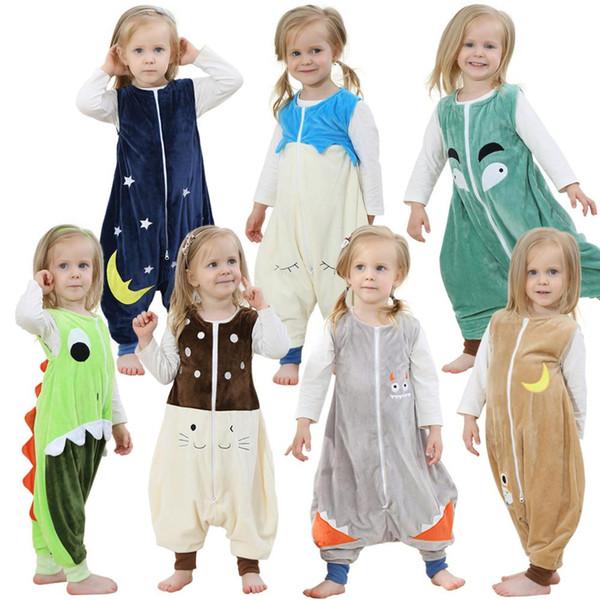 Flanel Sıcak Pijama Çocuk Tulum Kick Önlemek Cadılar Bayramı Bebek Battaniye Uyuyanlar Hayvan Ayak Pijama Noel Çocuklar