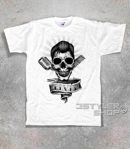 T-SHIRT ELVIS PRESLEY crâne teschio Rock and Roll Memphis Esprit Souspicieux