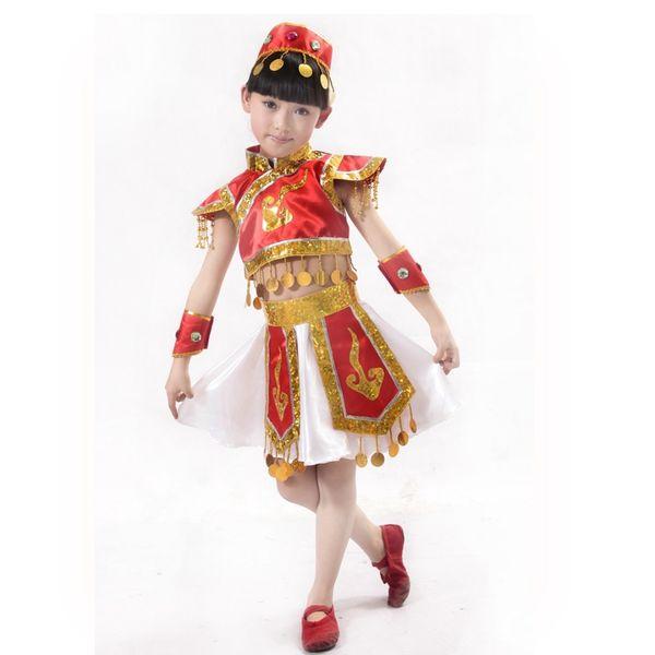 Costumes Ballroom Vêtements pour enfants Danse Mongolie tibétaine Mongolie costume de danse folklorique chinoise avec jupe Headress