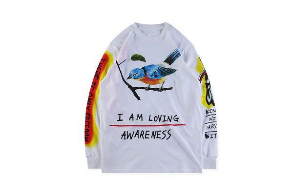 KANYE WEST WES LANG T-SHIRT Mens Spring SKULL BIRD Printed Long Sleeved Tops