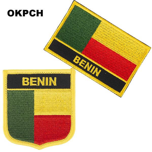 Бесплатная доставка бенин флаг вышивка утюг на патч 2 шт. За комплект PT0033-2