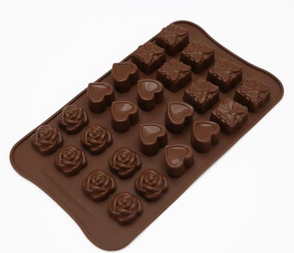 moule à chocolat moule à biscuits 24 cavité Rose Fleurs En Silicone En Forme de Chocolat Moule De Cuisine Ustensiles De Cuisson Ustensiles De Cuisine Fondant Gâteau Décoration À