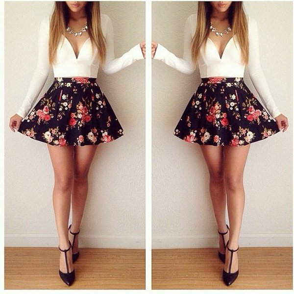 Fashion Spring Dresses For Womens Sexy Flowers Mini Skirt Long Sleeve Bangage Party Casual Short A-line Dress Clothes