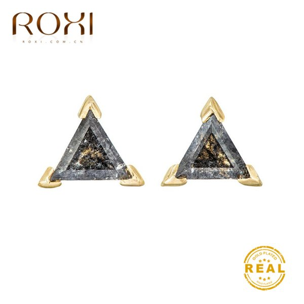 ROXI Fashion Gold Triangle Stud Earrings Black Austrian Crystal Rhinestone Earings Fashion Jewelry Vintage Small Zircon Earrings