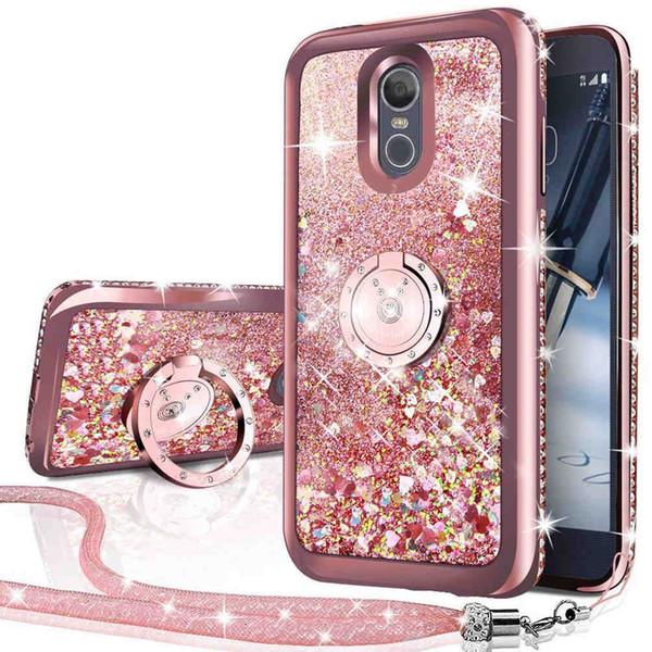 LG Stylo 4 Case, Bling Diamond Rhinestone перемещение жидкости голографический блеск блеск Case с подставкой Case для девочек женщин
