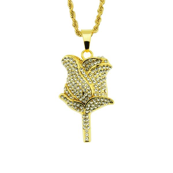 Новая Мода HIPHOP Рэп Роуз ночной клуб алмаз золото серебро Горный хрусталь ожерелье Кулон экологически чистые ювелирные изделия красивый мальчик цепи