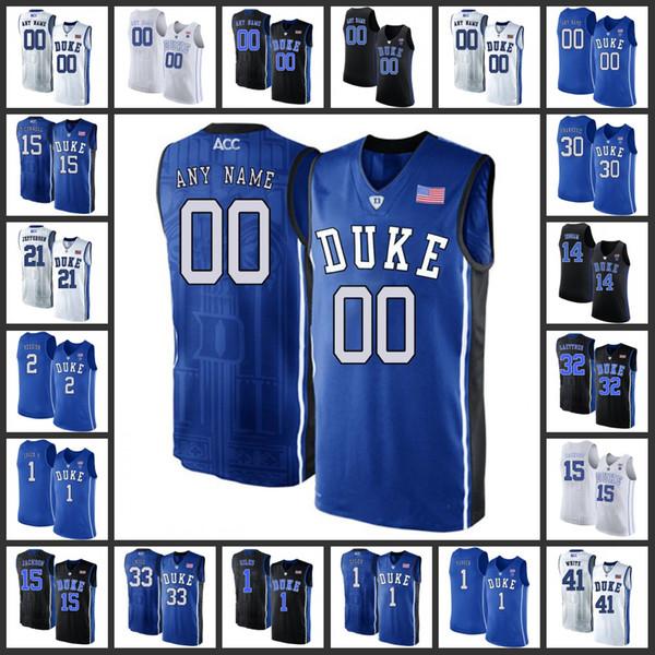 Benutzerdefinierte Duke Blue Devils Basketball-Trikots Herren Home Road Away Weiß Schwarz Blau 2019 Genäht College Duke Blue Devils Basketball Jersey