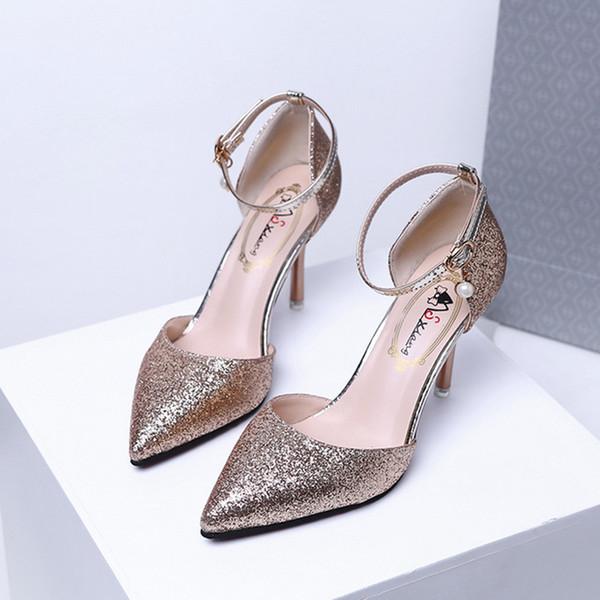 Kristal Sequins Yüksek topuklu Sivri Sığ Ağız Yüksek Topuklu kadın Ziyafet Elbise Ayakkabı Kelime Sandalet Sandalet