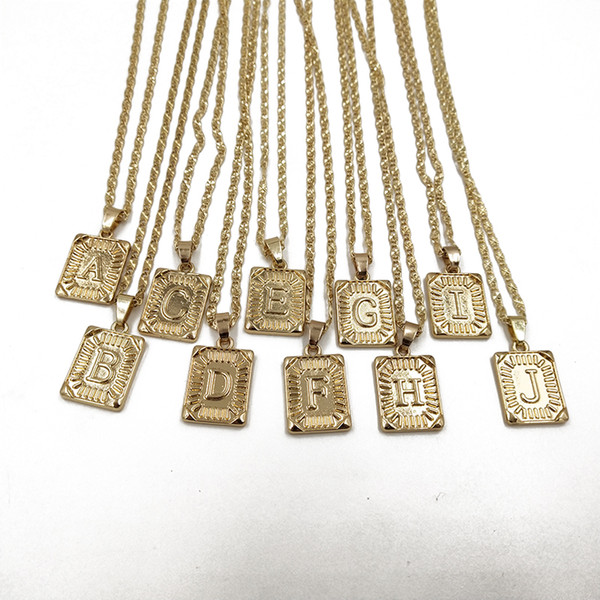 Rongho Collana in oro con pendente in metallo dorato per donna Collana con girocollo con scudo rettangolo Punk Collana con catena Boho Bijoux 2019