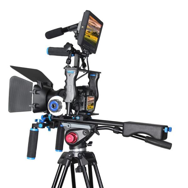 Freeshipping DSLR Rig Video Stabilizer Shoulder Mount Rig + Matte Box+ Follow Focus + Dslr Cage for Canon 5D2 5D3 5diii 5dIV Video Camcorder