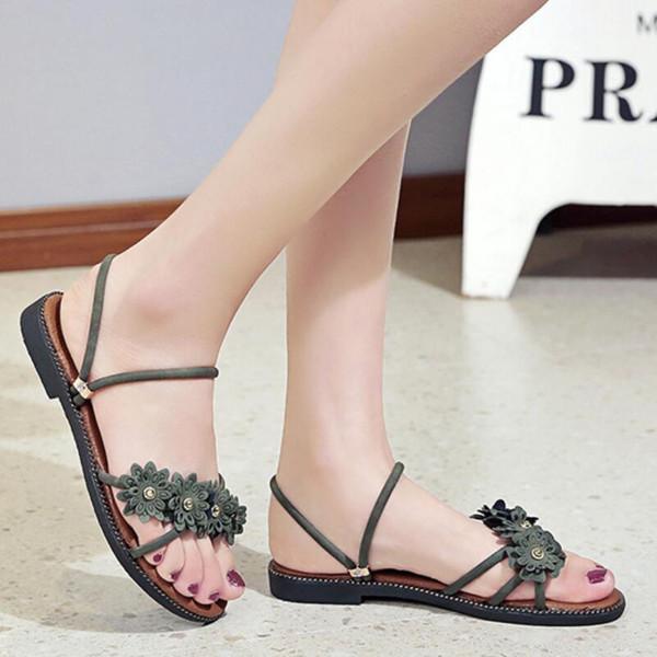 2019 Ücretsiz kargo Yaz moda sandalet güzel kadın ayakkabı rahat ayakkabılar Wild Flats genç p183 ..