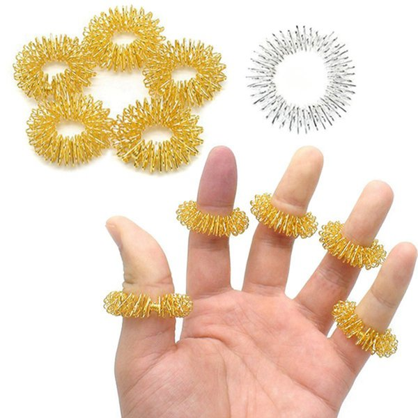 فنجر الفولاذ المقاوم للصدأ تدليك حزام مدلك خواتم الوخز بالإبر الرعاية الصحية مساج الجسم الاسترخاء إصبع اليد العناية RRA2375