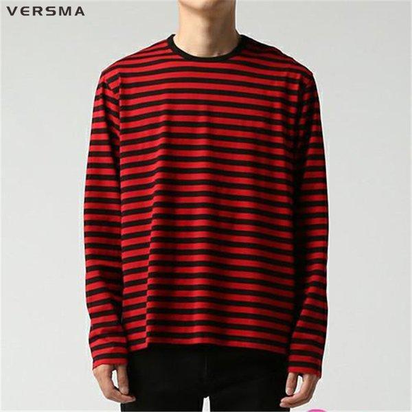Versma Korean Ulzzang Harajuku Gd Black White Striped T-shirt Men Women Unisex Loose Oversized Extra Long Sleeve Couple T Shirt T2190615