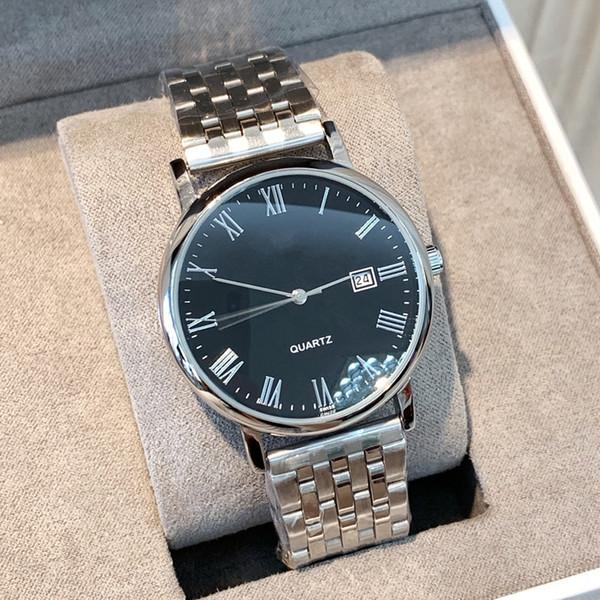 Moda popüler Saatler Roma işareti Elbise tarih takvim çelik Lüks güzel erkek saatler Klasik yüksek kaliteli basit bir adam kol saatleri izlemek
