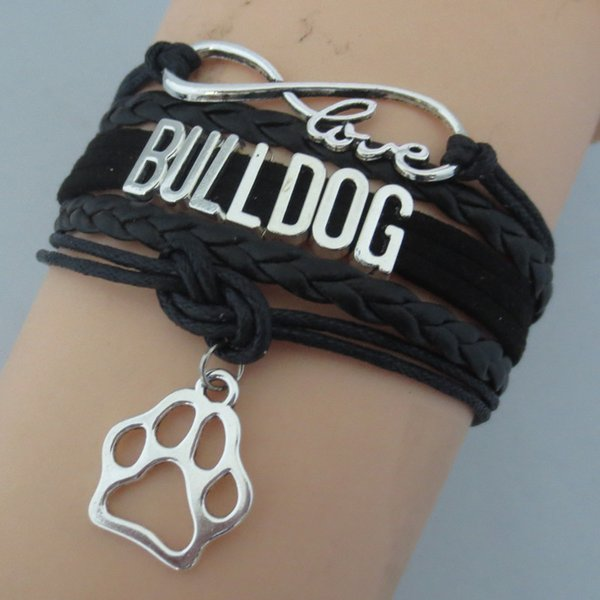 Fashion Infinity 8 Love Bulldog Bracelet Gift For Animal Breeds Dog Paw Charm Bracelets & Bangle Leather Jewelry