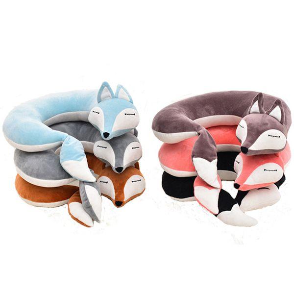 Fox U Shape Neck Pillow Cotton Plush U Shape Neck Pillow Travel Car Home Pillow Nap U Shape Pillows for Flight Plane Travel