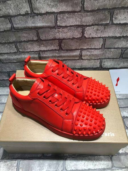 Bright Red Louisflats Spikes Low Cut Red Bottom Sneakers Paint Leather Casual Famous Party Dress Casual Men Women Trainers EU36-46