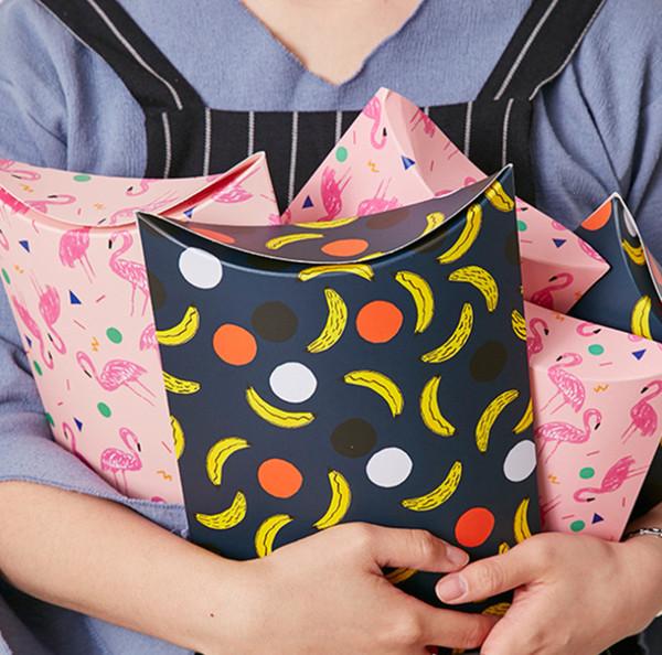 2019 Cute Pink Bird Flamingo/Black Banana Pillow Shape Gift Candy Box Cake Box Sweet Wedding Party Favour