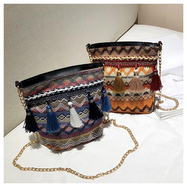 3 farben Stroh Weben Quaste Umhängetasche Handtasche Vintage Umhängetasche Crossbody Taschen Frauen kinder Beach party Tasche C630