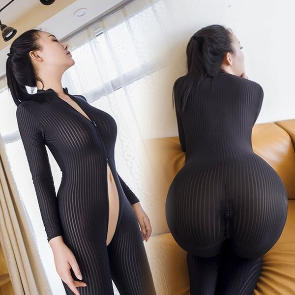 Black/white Dame Striped Sheer Sexy Bodysuit Smooth Fiber 2 Zipper Long Sleeve Jumpsuit drop shipping good quality