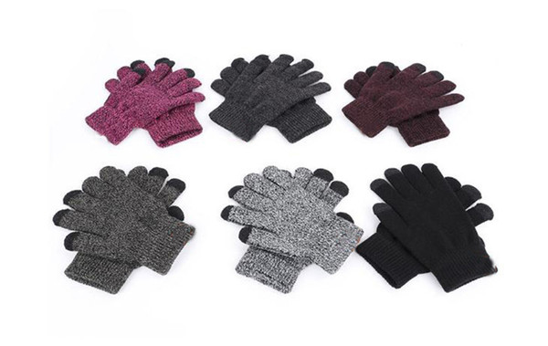 2018 High Quality Knit Gloves Man Woman Warm Mittens Plus Velvet Thicken Gloves for touch screens Unisex D38