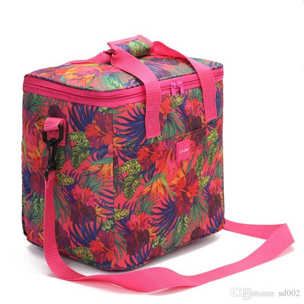 Oxford Thickening Flower Insulated Cooler Picnic Zipper Lunch Bag Single Shoulder Aluminum Film Portable Package Ice Pack 14 99jsC1