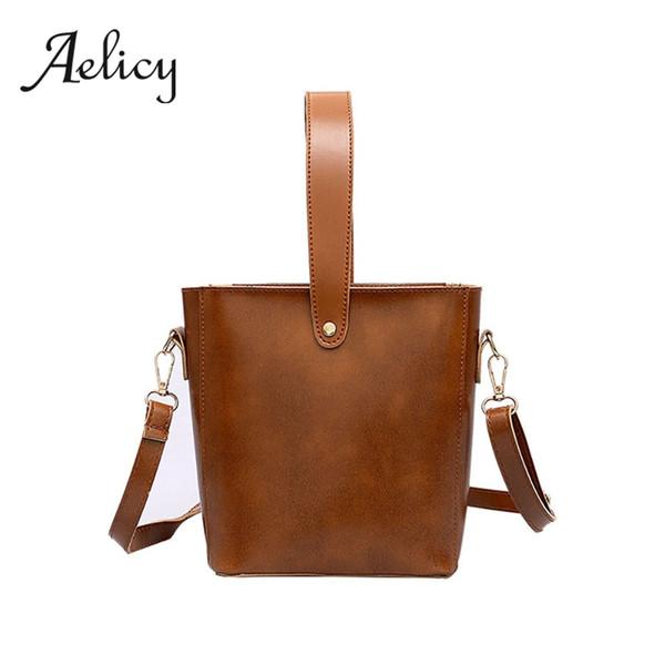 Aelicy British style Retro PU Leather Big Shoulder Bag Women Solid Bucket Bag Tote Laides Simple Satchel Handbag Crossbody