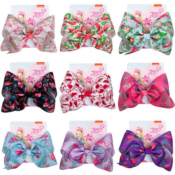 JOJO Siwa Hair Bows 9 colori Flamingo stampato Jojo Bows con clip accessori per capelli per ragazze 8 pollici grande arco per capelli SS208