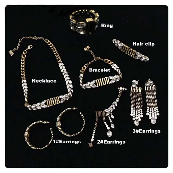 best selling 2019 High quality luxury designer jewelry set vintage brass earrings for women fashion jewelry set gift