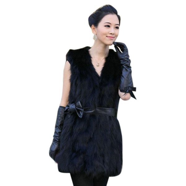 Fluffy Faux Fur Vest Soft Hairy Faux Fur Coats Overcoat Waistcoat Autumn Winter Sleeveless Outerwear Women Plus Size 3XL