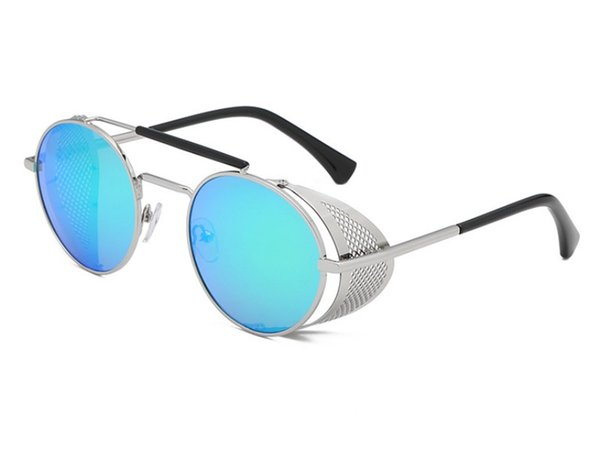 Retro Punk Steam Round Sunglasses Men And Women Hipster Personality Metal Mesh Hip Hop Sun Glasses 8 Colors