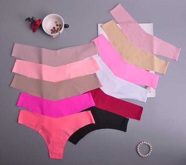 Hot Silk Sexy Women Thongs G String Seamless Female Underwear Tanga Panties Low-rise Lingerie Panty Intimates 1pcs Ac125 C19042101