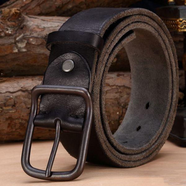 Ceinture en cuir de luxe pour hommes Vintage ceintures en cuir pour hommes Jeans Strap Black Color Wide Strapping Ceinture Brown Thong Y19051803