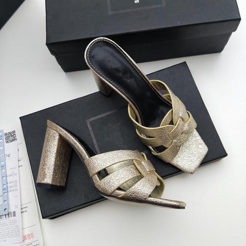 2019 luxury Women Beach Leather Slippers Slingback Shoes High-heel Pumps Designer Summer Women Open Toe Sandals size35-40