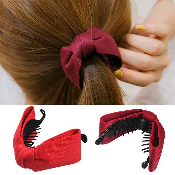 Tessuto dolce coreano Fiocco Capelli Artiglio Donne eleganti Tovaglioli di stoffa per capelli Banana Clip di granchio Coda di cavallo Tenere gli accessori per capelli della ragazza