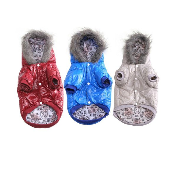 Winter Small Large Dog Clothes Wear Jacket Costume Chihuahua Coats Yorkshire PU Waterproof Puppy Clothes Pets Clothing With Hat