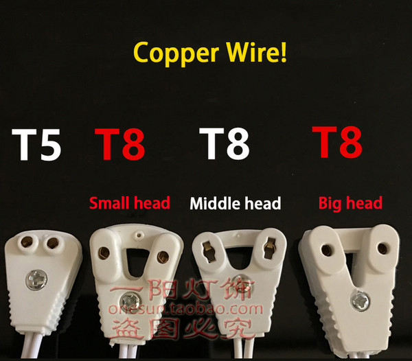 T5 LED-Leuchtstofflampe Lampenkopf-Verbindungskabel T8 kleiner Kopf Leuchtkasten Draht T5 T8 Rohrclip Kupferdraht 10 Shares