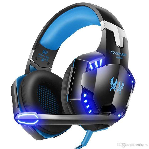 Injoo G2000 Head-mounted Desktop Gaming Noise Reduction Subwoofer Headphones with Microphone, Cool Nightlight LED Shock Sound Headphones