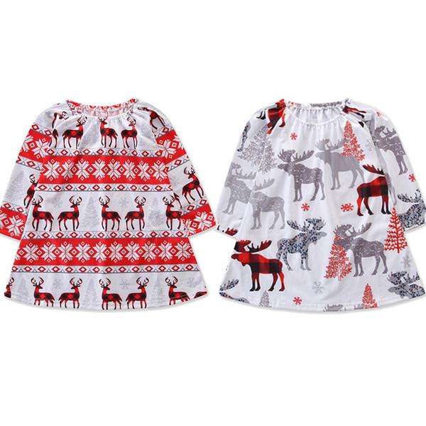 Toddler Baby Girls Long Sleeve Christmas Deer Print Tulle Dress Clothes Dresses