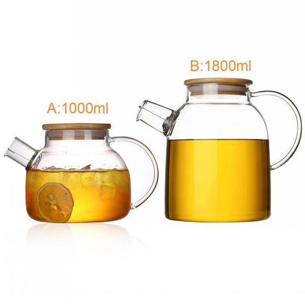 Borosilikatglas Teekanne Wasserkocher Heiß Kalt Beständig Bambus Teekanne für den Coffee Shop liefert Großhandel Neueste Hitzebeständige
