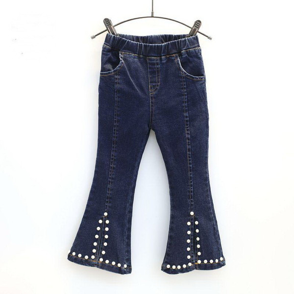 Children's clothing jeans 2019 girl spring beading placketing all-match boot cut casual jeans pants girl fashion denim trousers