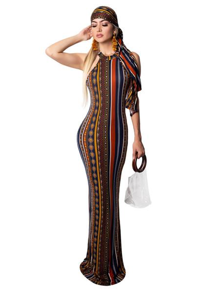 Robe imprimée à rayures vintage Bohème Vintage Femmes O Cou sans manches, Plus robe de taille Casual Vocation Maxi Dress avec écharpe NZK-1719