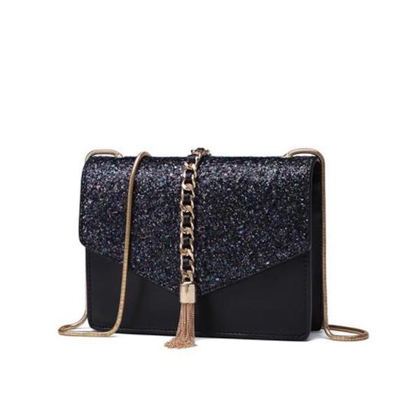 New Women Fashion leather Tassel bag Chain ladies Shoulder Bags Evening bag Crossbody bag free shipping