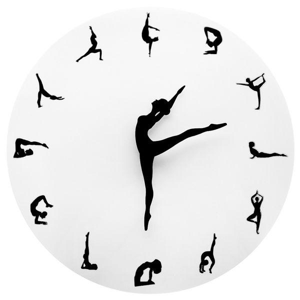 Yoga Posture Orologio da parete GYM Fitness flessibile ragazza silenzioso orologio moderno orologio casa decorazione di arte della parete Meditazione Decor Studio Yoga Relax regalo