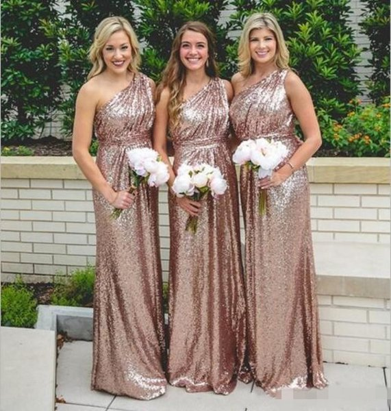 Sparkly Rose Gold Sequined Bridesmaids Dresses 2018 A Line One Shoulder Long Length Cheap Simple Girls Junior Maid Of Honors Formal Gowns