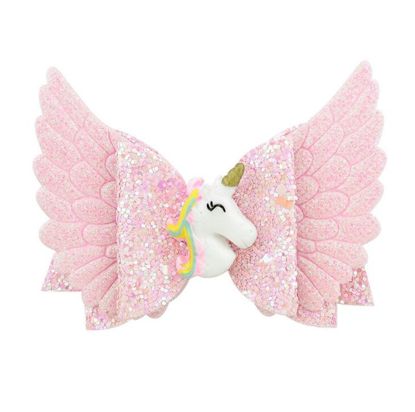 Baby Unicorn Glitter Bows Hair Clips Boutique Hairclips Accessories Princess Hairgrips for Girls Children's Hair with Angel Wings