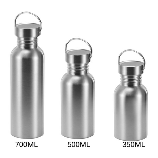 Stainless Steel Water Kettle for Outdoor Camping Hiking Cycling Sport Leak-Proof water Bottle Lid for Hanging 350 500 700ML