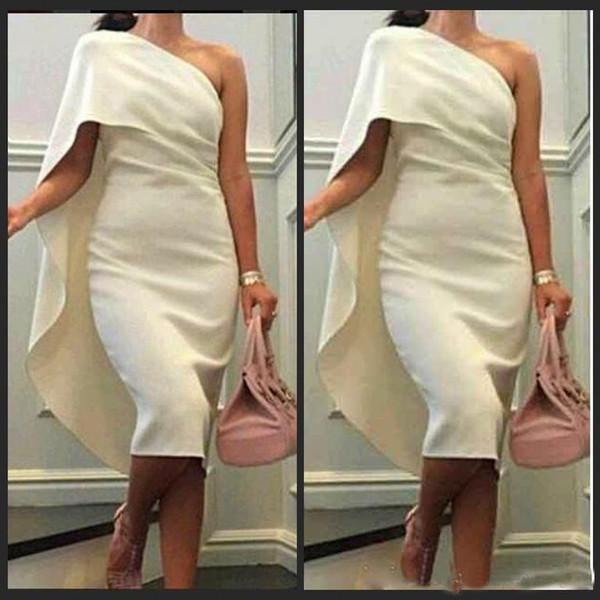 Knielangen Cocktail Party Kleider 2019 neueste Mantel eine Schulter weiß Celebrity Bridal 2019 Abend arabischen Abendkleid Elfenbein Satin